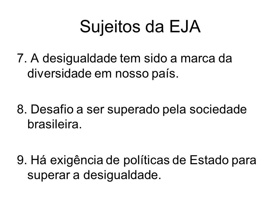 Sujeitos da EJA 7. A desigualdade tem sido a marca da diversidade em nosso país. 8. Desafio a ser superado pela sociedade brasileira.
