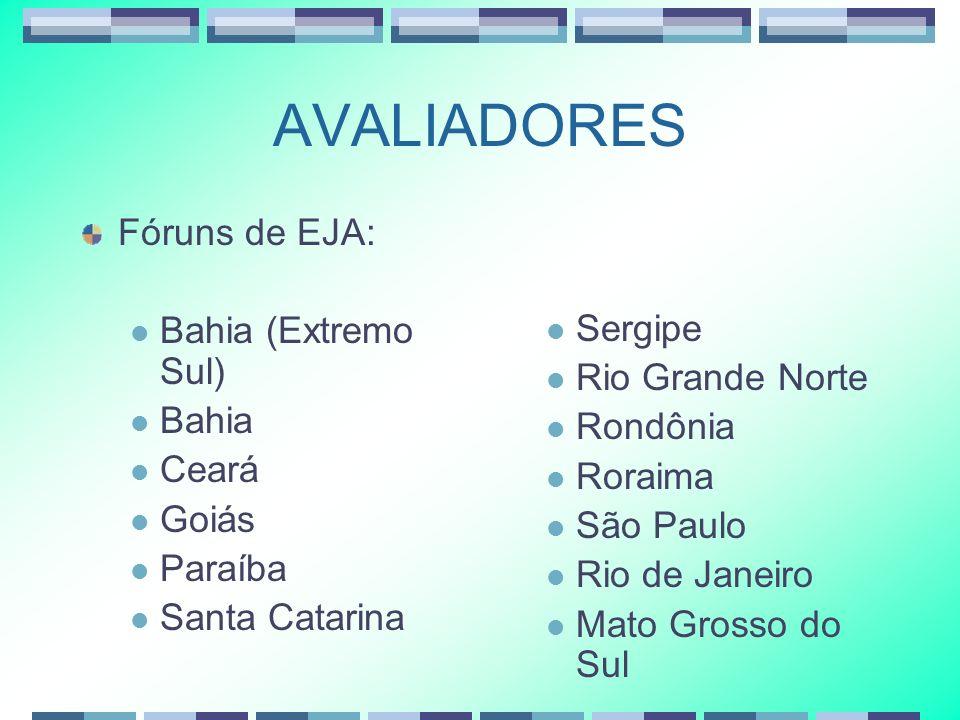 AVALIADORES Fóruns de EJA: Bahia (Extremo Sul) Bahia Sergipe Ceará