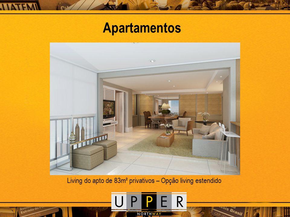 Apartamentos Living do apto de 83m² privativos – Opção living estendido