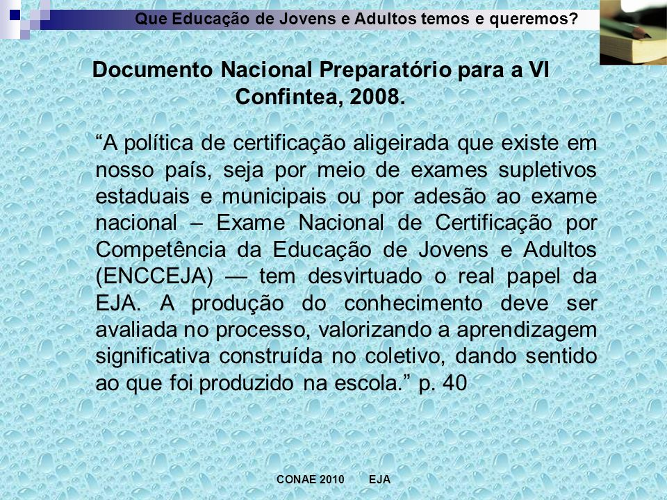 Documento Nacional Preparatório para a VI Confintea, 2008.