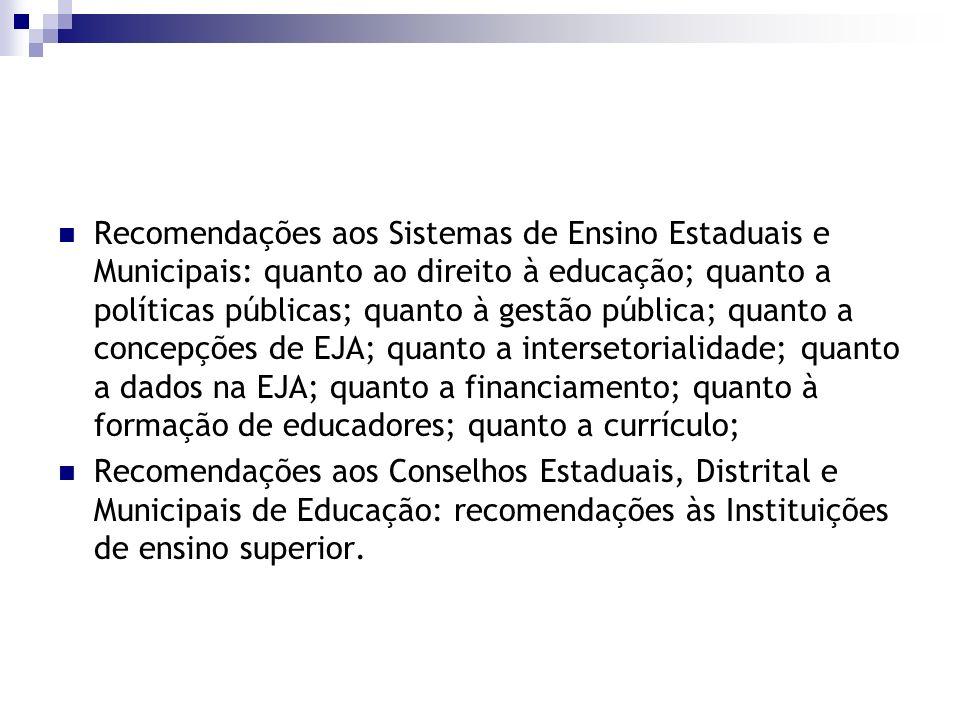 Recomendações aos Sistemas de Ensino Estaduais e Municipais: quanto ao direito à educação; quanto a políticas públicas; quanto à gestão pública; quanto a concepções de EJA; quanto a intersetorialidade; quanto a dados na EJA; quanto a financiamento; quanto à formação de educadores; quanto a currículo;