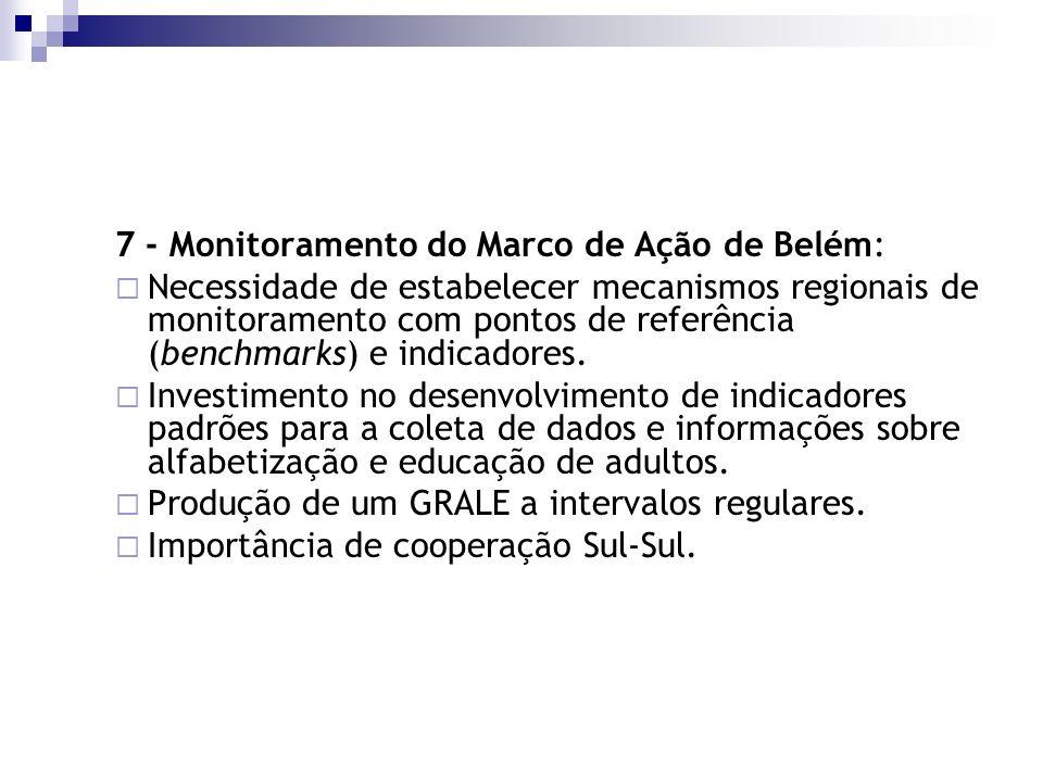 7 - Monitoramento do Marco de Ação de Belém: