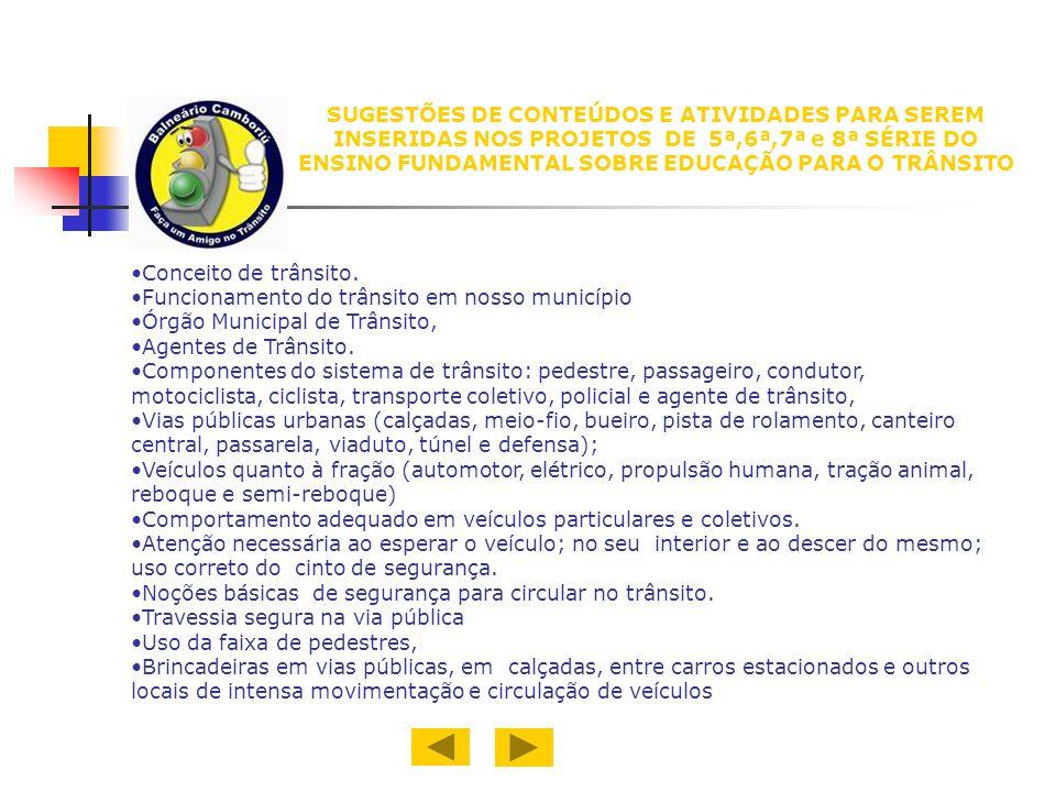 SUGESTÕES DE CONTEÚDOS E ATIVIDADES PARA SEREM INSERIDAS NOS PROJETOS DE 5ª,6ª,7ª e 8ª SÉRIE DO ENSINO FUNDAMENTAL SOBRE EDUCAÇÃO PARA O TRÂNSITO