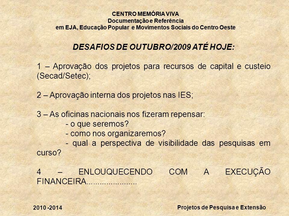 DESAFIOS DE OUTUBRO/2009 ATÉ HOJE: