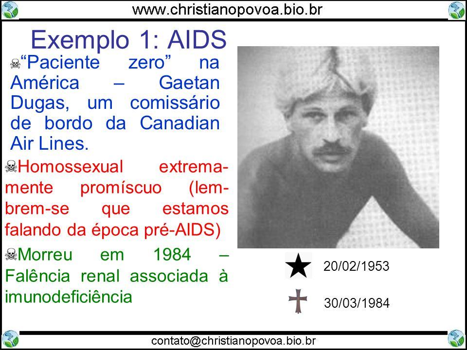 Exemplo 1: AIDS 20/02/1953. 30/03/1984. Paciente zero na América – Gaetan Dugas, um comissário de bordo da Canadian Air Lines.