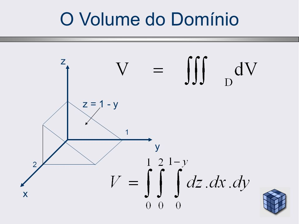 O Volume do Domínio z z = 1 - y 1 y 2 x