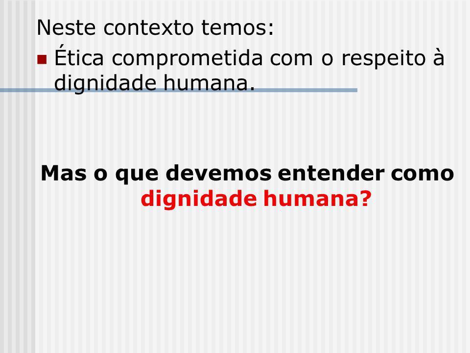 Mas o que devemos entender como dignidade humana