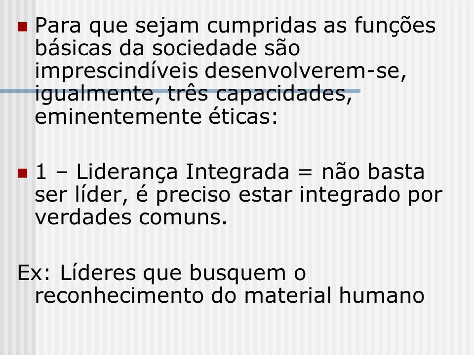 Para que sejam cumpridas as funções básicas da sociedade são imprescindíveis desenvolverem-se, igualmente, três capacidades, eminentemente éticas:
