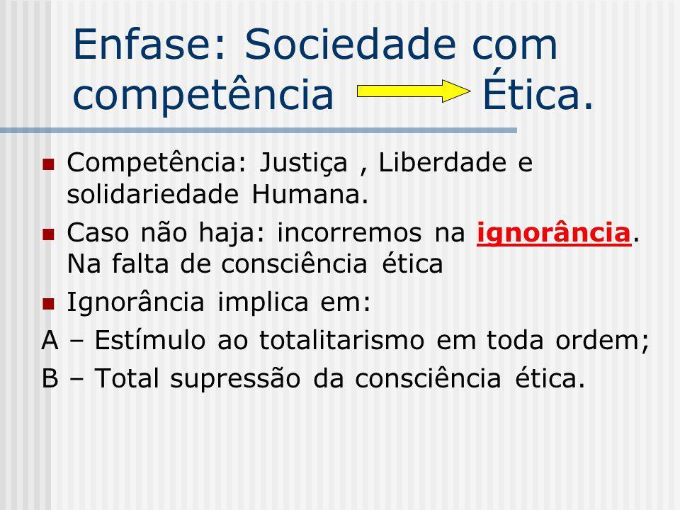 Enfase: Sociedade com competência Ética.