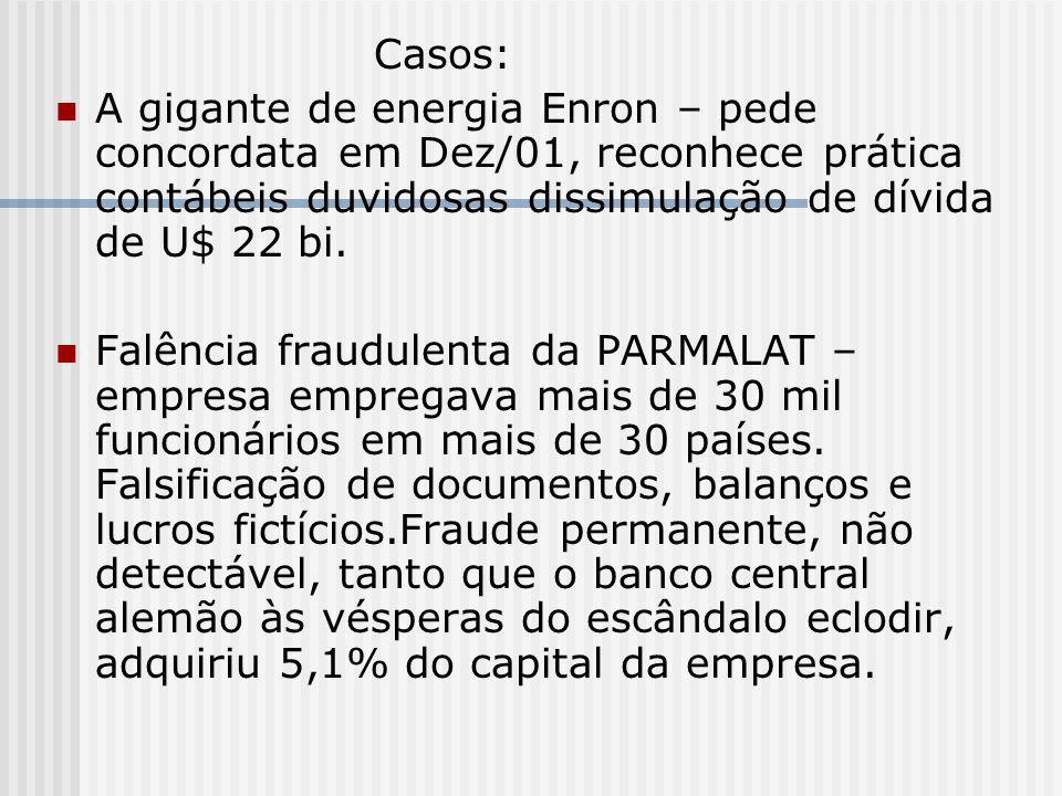 Casos: A gigante de energia Enron – pede concordata em Dez/01, reconhece prática contábeis duvidosas dissimulação de dívida de U$ 22 bi.
