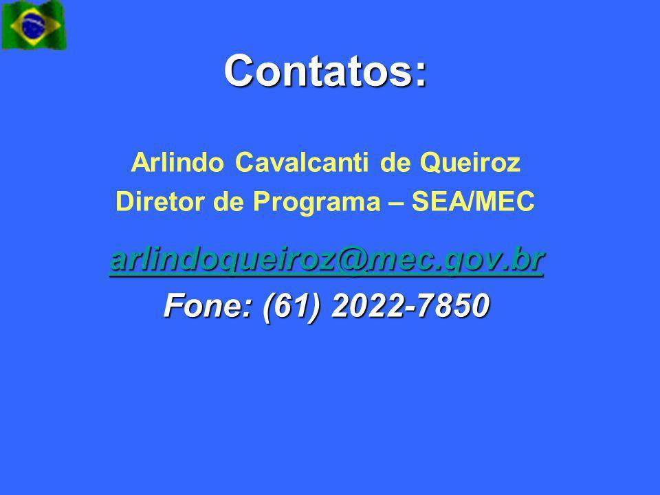 Arlindo Cavalcanti de Queiroz Diretor de Programa – SEA/MEC