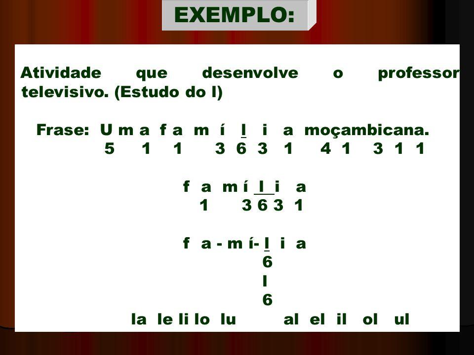 EXEMPLO: Atividade que desenvolve o professor televisivo. (Estudo do l) Frase: U m a f a m í l i a moçambicana.