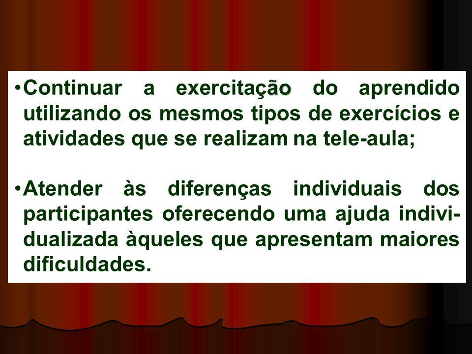 Continuar a exercitação do aprendido utilizando os mesmos tipos de exercícios e atividades que se realizam na tele-aula;