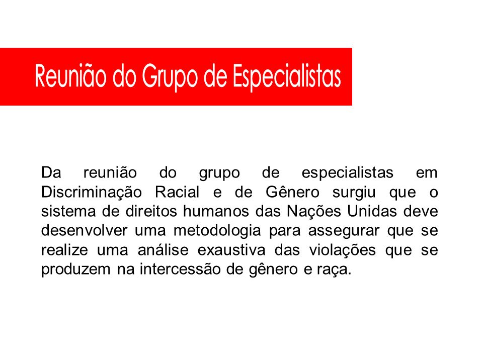 Reunião do Grupo de Especialistas