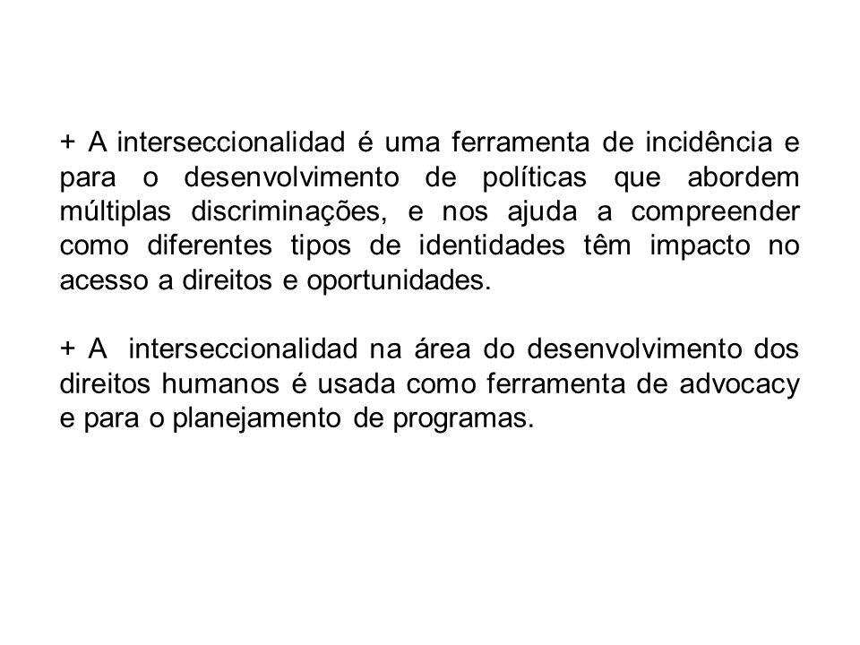 + A interseccionalidad é uma ferramenta de incidência e para o desenvolvimento de políticas que abordem múltiplas discriminações, e nos ajuda a compreender como diferentes tipos de identidades têm impacto no acesso a direitos e oportunidades.
