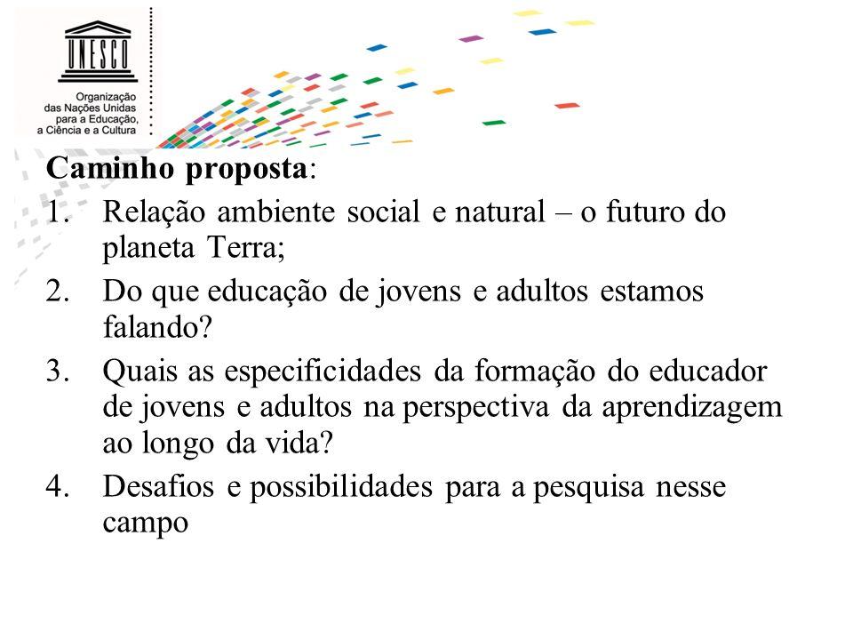 Caminho proposta: Relação ambiente social e natural – o futuro do planeta Terra; Do que educação de jovens e adultos estamos falando