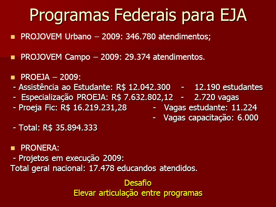 Programas Federais para EJA