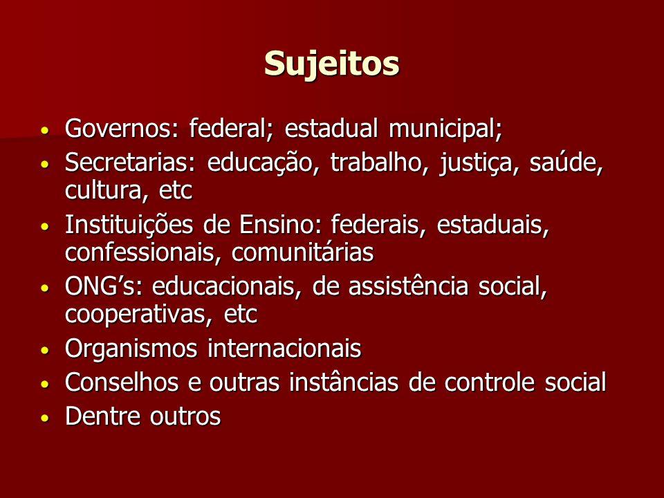 Sujeitos Governos: federal; estadual municipal;