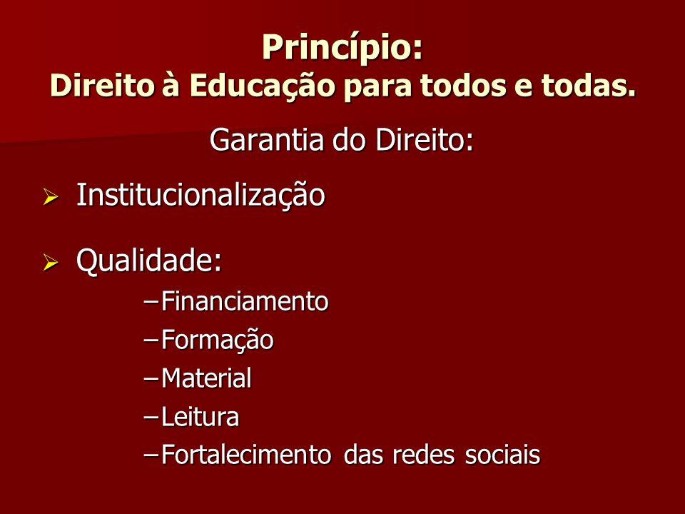 Princípio: Direito à Educação para todos e todas.