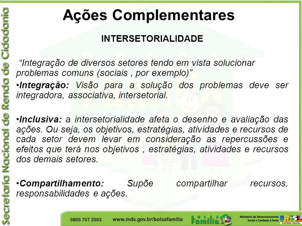 Ações Complementares INTERSETORIALIDADE