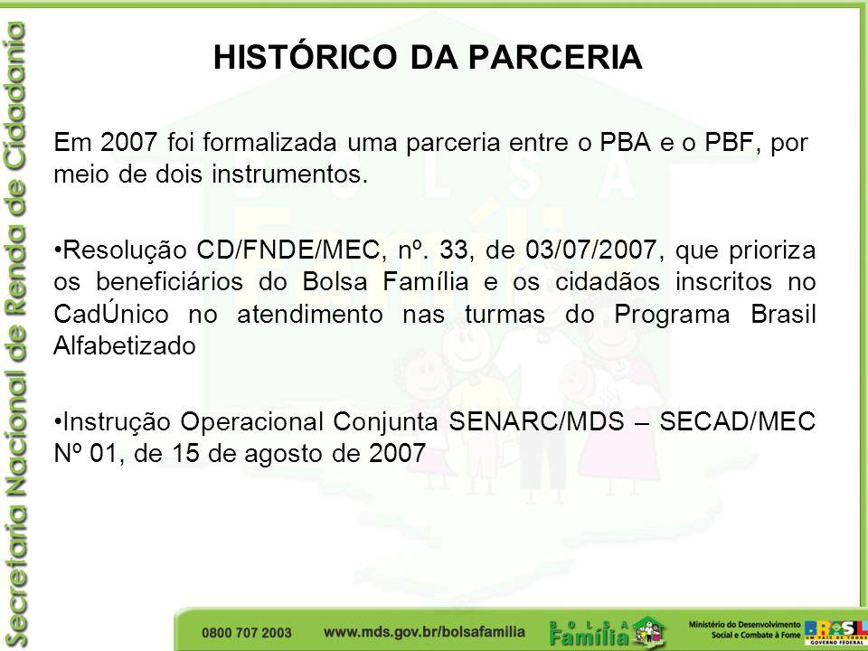 HISTÓRICO DA PARCERIA Em 2007 foi formalizada uma parceria entre o PBA e o PBF, por meio de dois instrumentos.