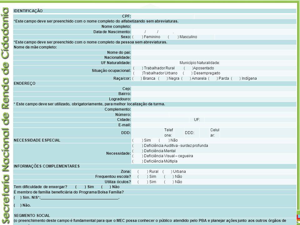 Monitoramento IDENTIFICAÇÃO CPF: