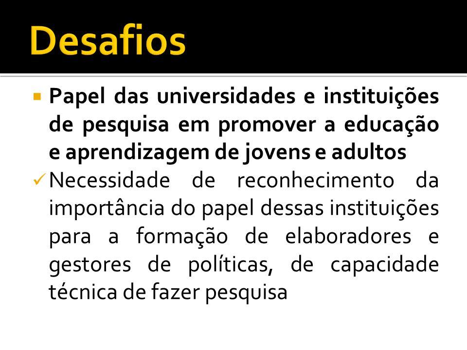 Desafios Papel das universidades e instituições de pesquisa em promover a educação e aprendizagem de jovens e adultos.