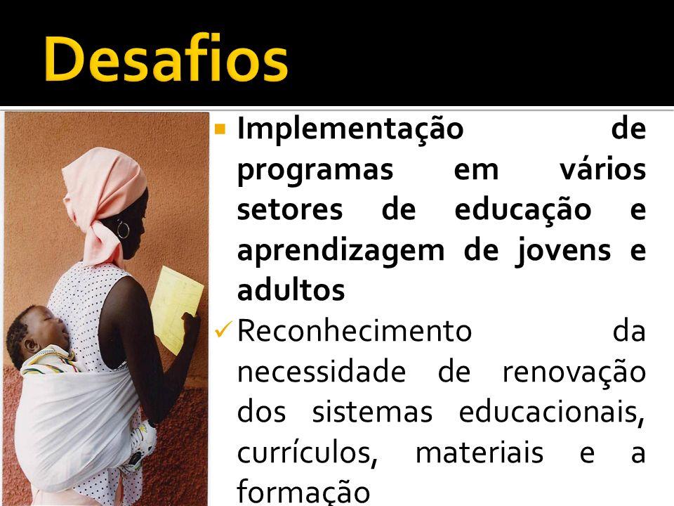 DesafiosImplementação de programas em vários setores de educação e aprendizagem de jovens e adultos.