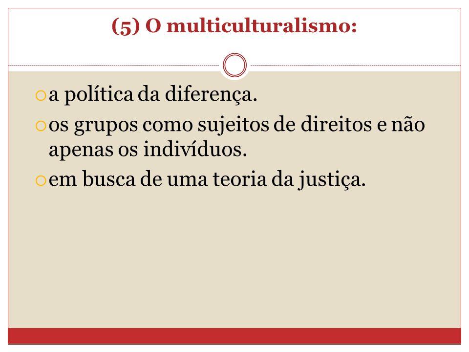 (5) O multiculturalismo: