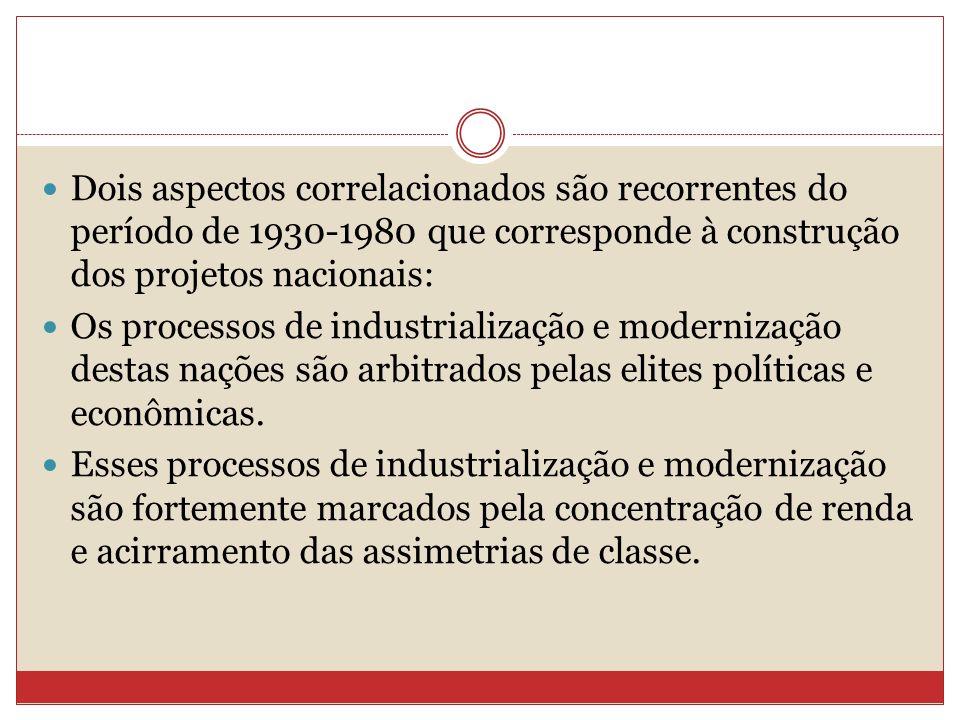 Dois aspectos correlacionados são recorrentes do período de 1930-1980 que corresponde à construção dos projetos nacionais: