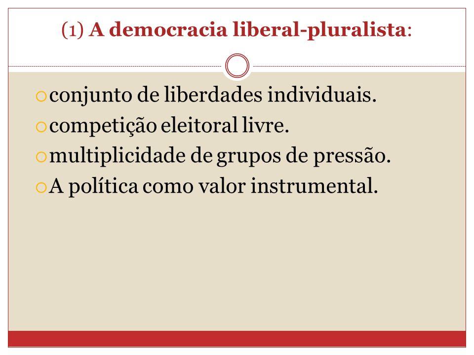 (1) A democracia liberal-pluralista: