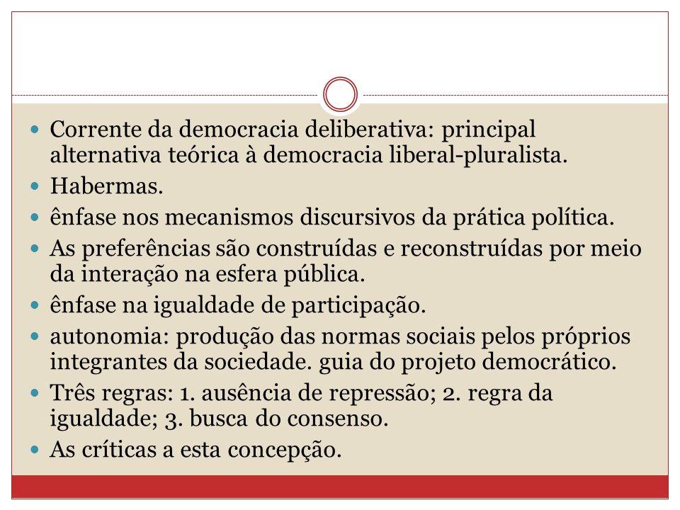 Corrente da democracia deliberativa: principal alternativa teórica à democracia liberal-pluralista.
