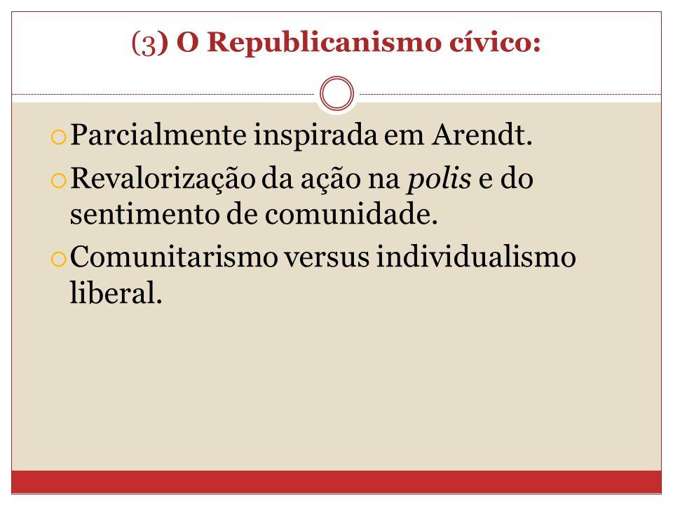 (3) O Republicanismo cívico: