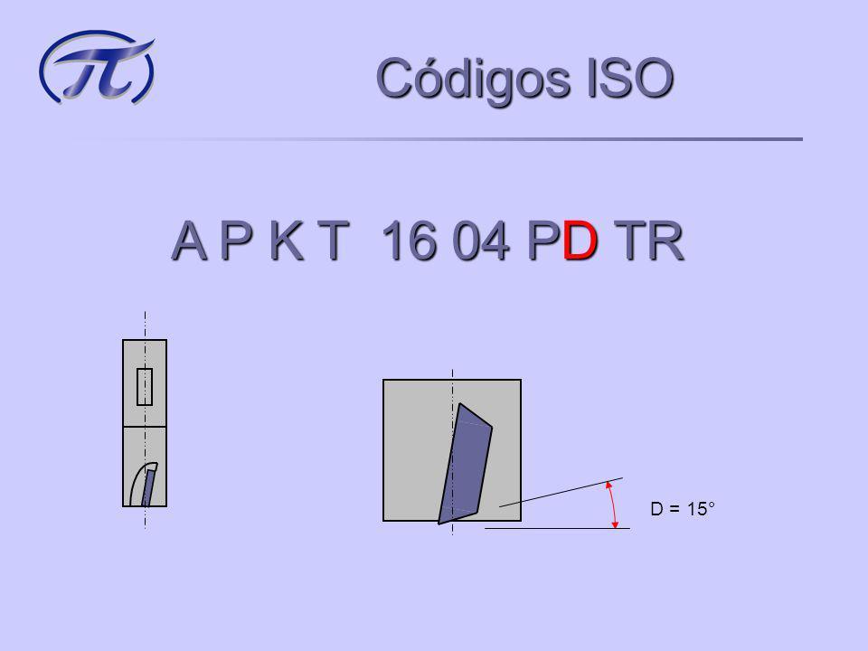 Códigos ISO A P K T 16 04 PD TR D = 15°