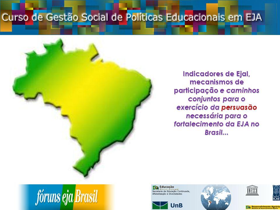 Indicadores de Ejal, mecanismos de participação e caminhos conjuntos para o exercício da persuasão necessária para o fortalecimento da EJA no Brasil...