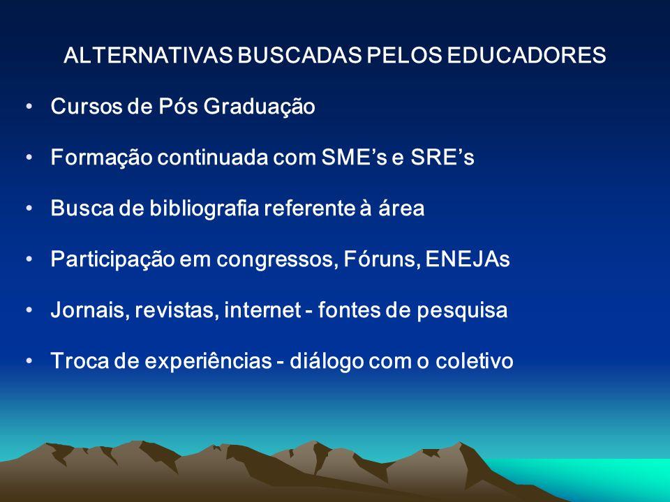 ALTERNATIVAS BUSCADAS PELOS EDUCADORES