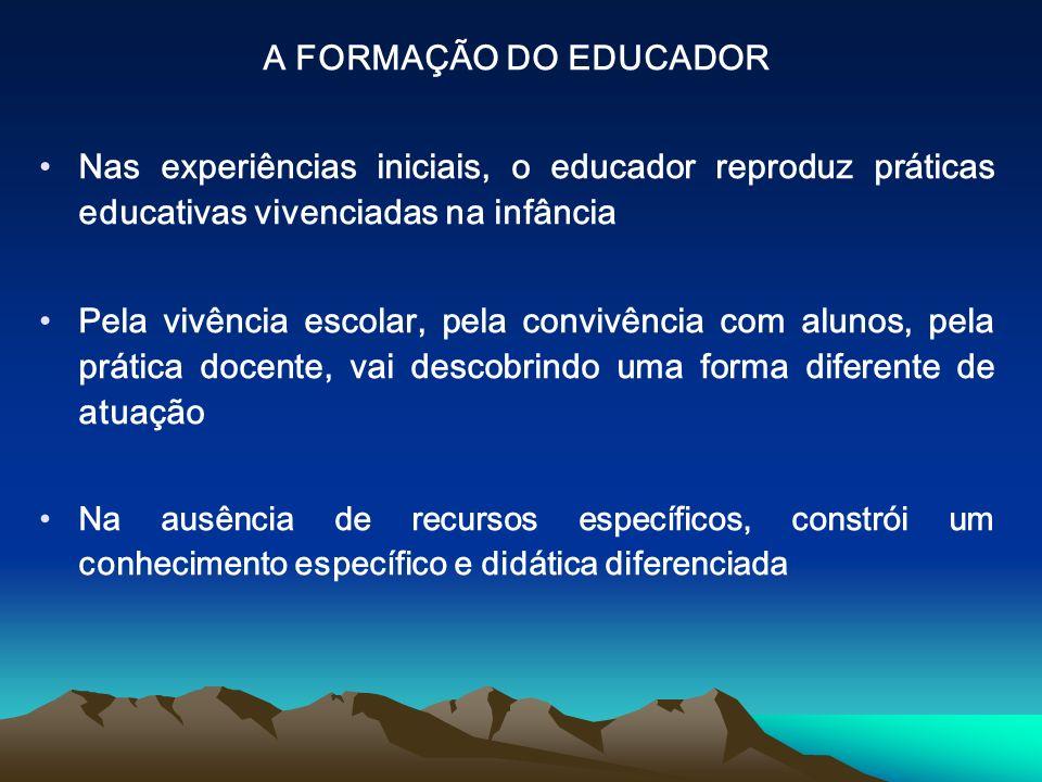 A FORMAÇÃO DO EDUCADOR Nas experiências iniciais, o educador reproduz práticas educativas vivenciadas na infância.