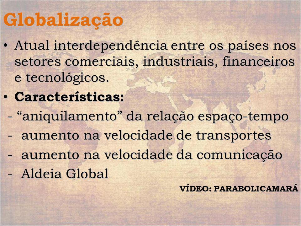 Globalização Atual interdependência entre os países nos setores comerciais, industriais, financeiros e tecnológicos.
