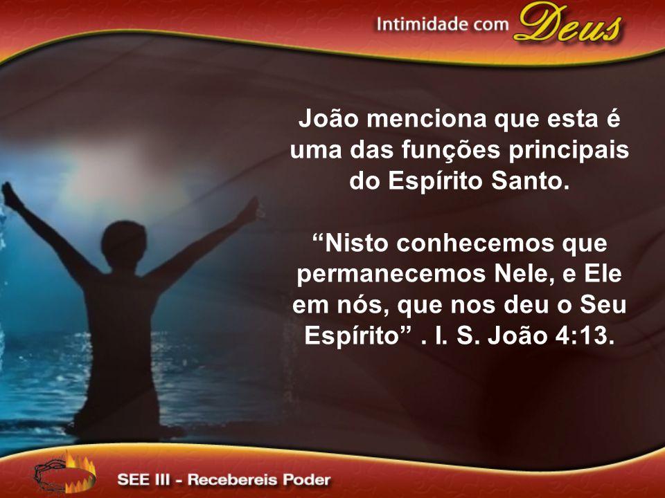 João menciona que esta é uma das funções principais do Espírito Santo.