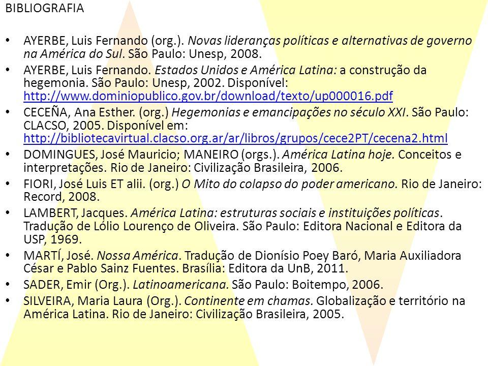 BIBLIOGRAFIA AYERBE, Luis Fernando (org.). Novas lideranças políticas e alternativas de governo na América do Sul. São Paulo: Unesp, 2008.
