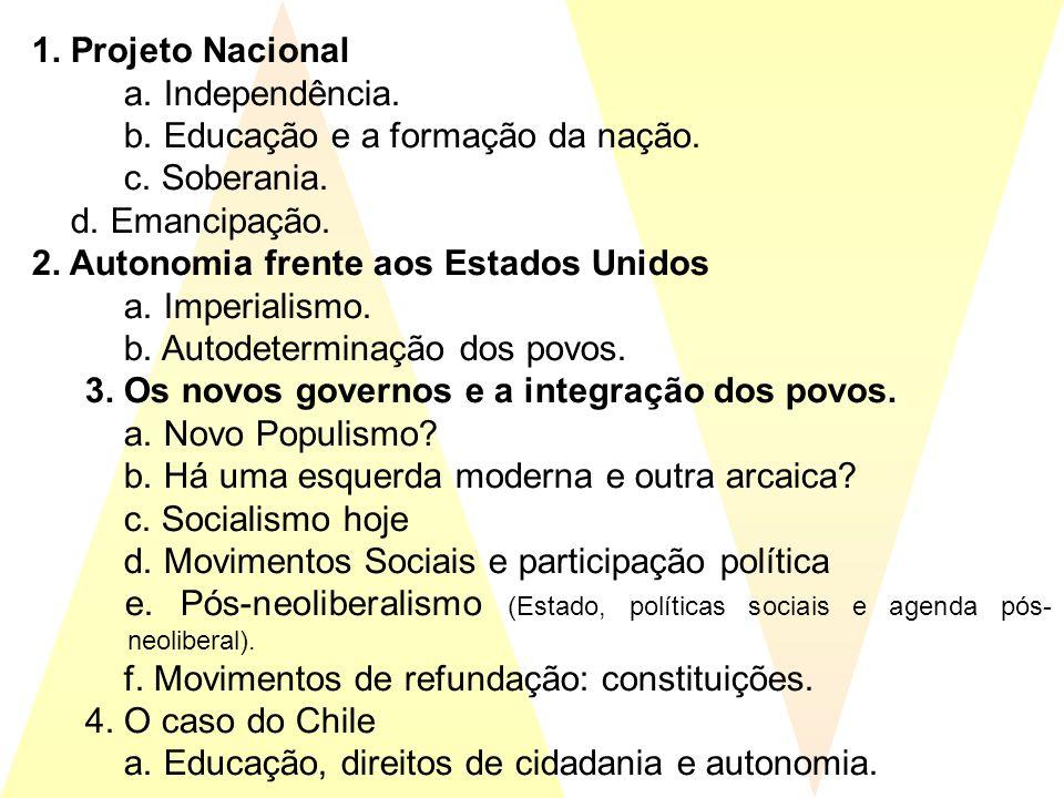 1. Projeto Nacional a. Independência. b. Educação e a formação da nação. c. Soberania. d. Emancipação.