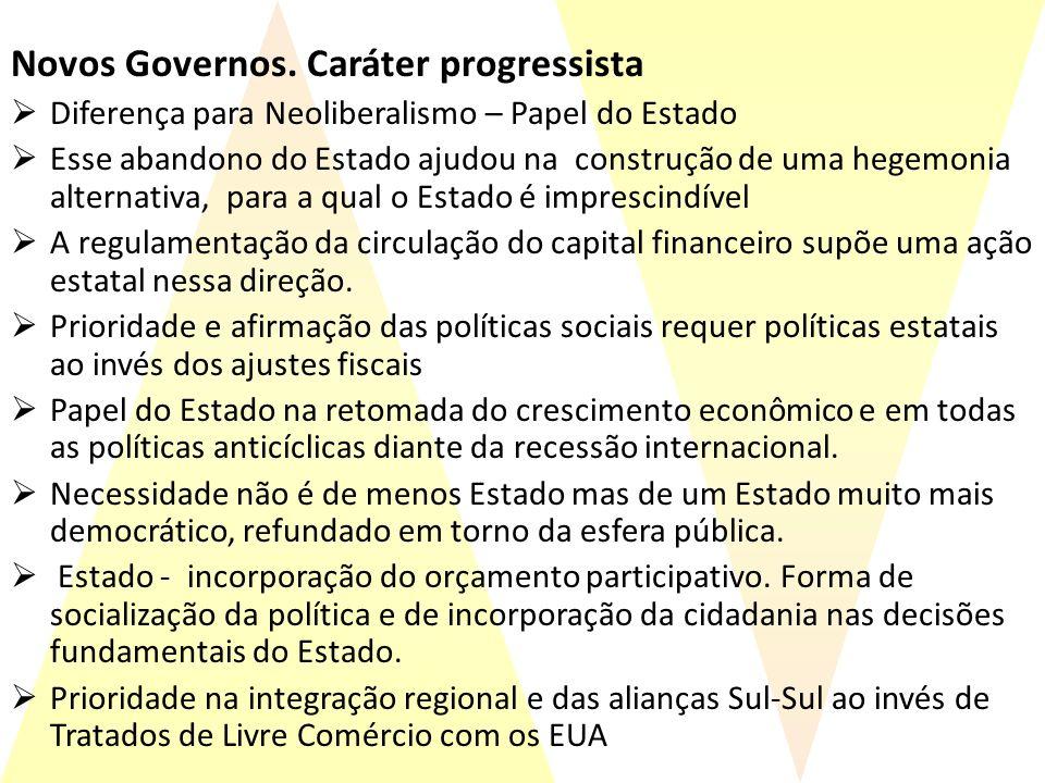Novos Governos. Caráter progressista