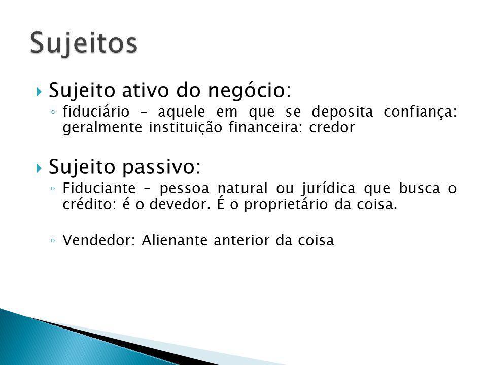 Sujeitos Sujeito ativo do negócio: Sujeito passivo: