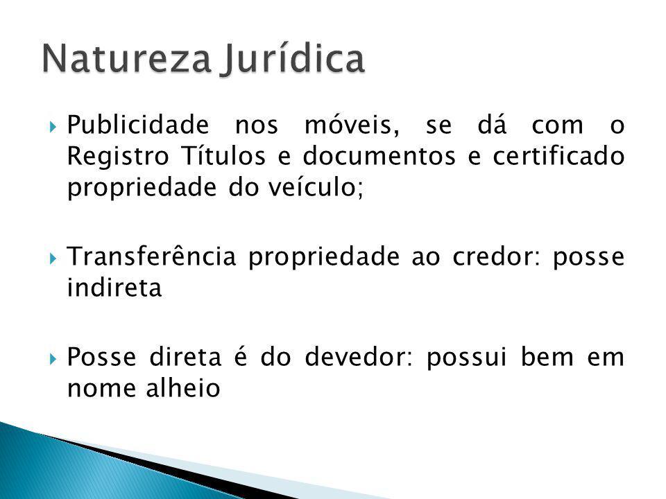 Natureza Jurídica Publicidade nos móveis, se dá com o Registro Títulos e documentos e certificado propriedade do veículo;