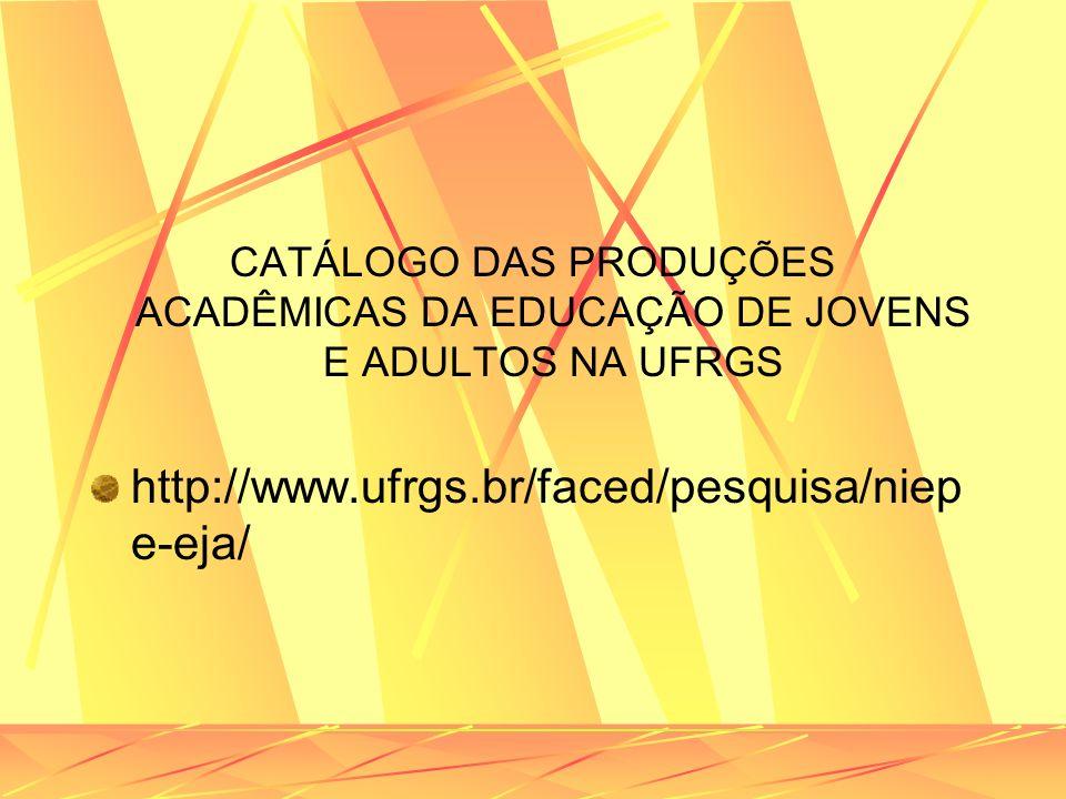CATÁLOGO DAS PRODUÇÕES ACADÊMICAS DA EDUCAÇÃO DE JOVENS E ADULTOS NA UFRGS