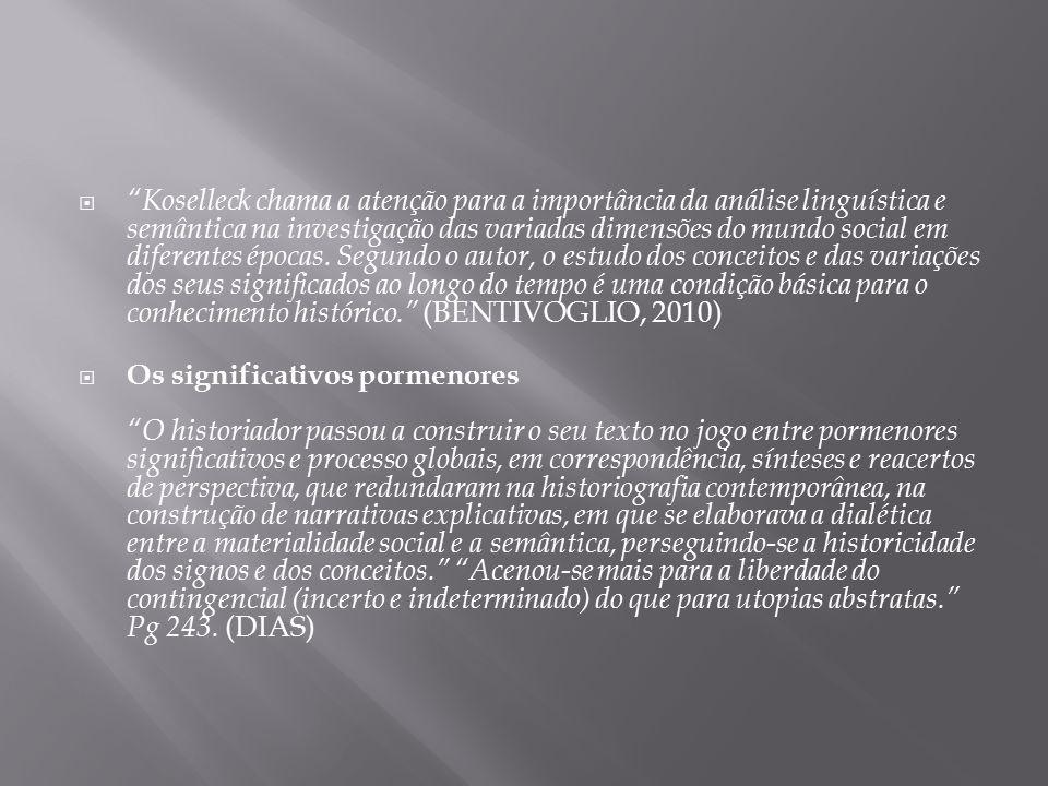 Koselleck chama a atenção para a importância da análise linguística e semântica na investigação das variadas dimensões do mundo social em diferentes épocas. Segundo o autor, o estudo dos conceitos e das variações dos seus significados ao longo do tempo é uma condição básica para o conhecimento histórico. (BENTIVOGLIO, 2010)