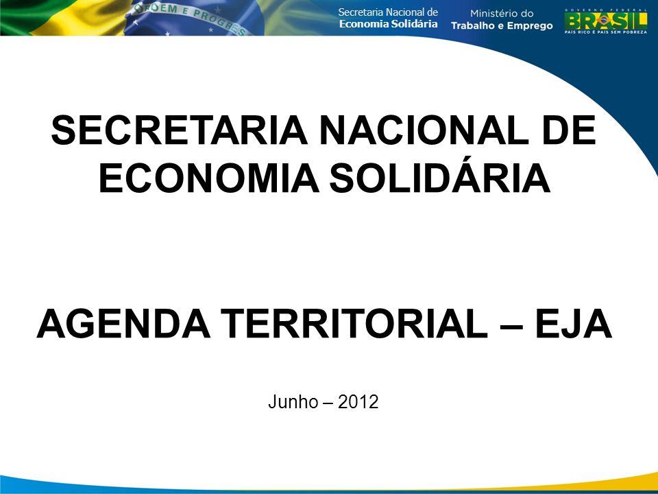 SECRETARIA NACIONAL DE ECONOMIA SOLIDÁRIA AGENDA TERRITORIAL – EJA