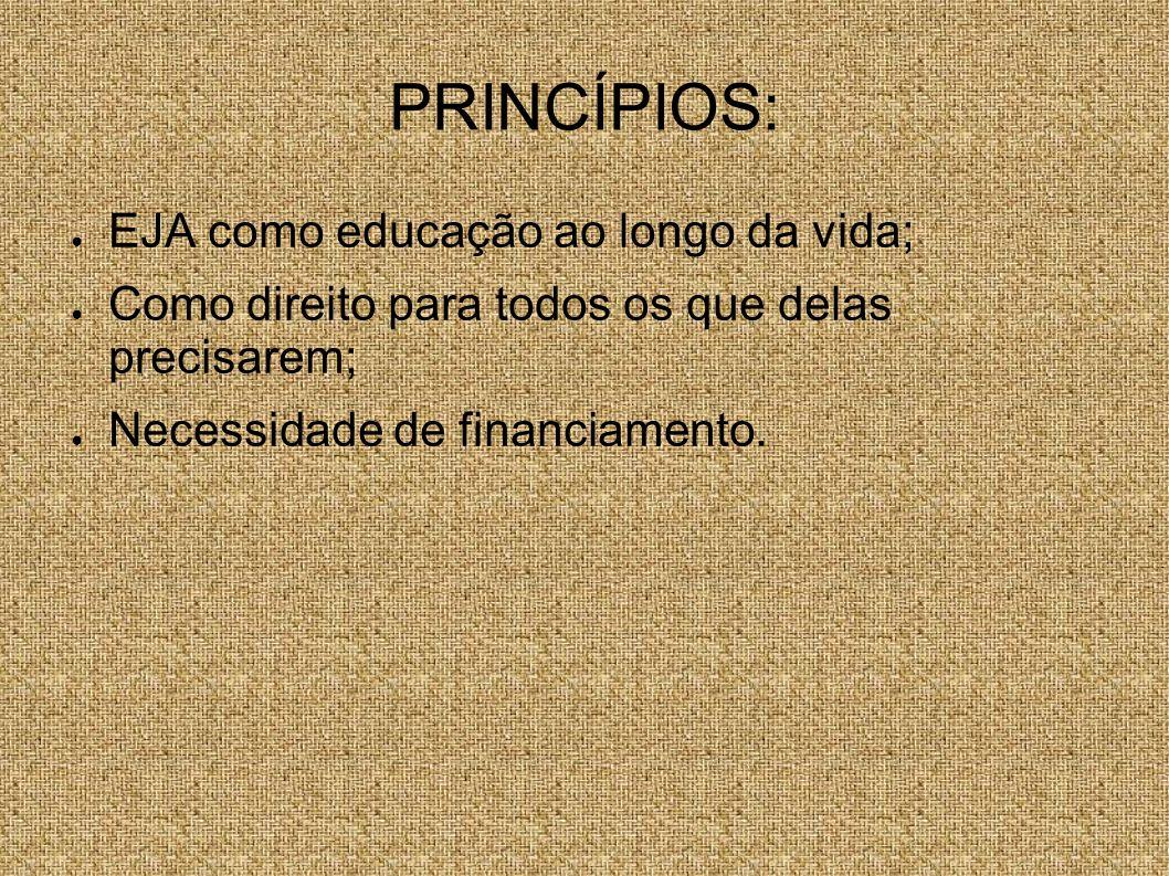 PRINCÍPIOS: EJA como educação ao longo da vida;