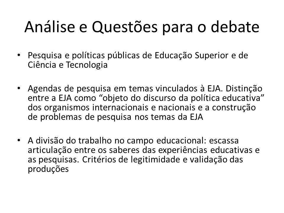 Análise e Questões para o debate