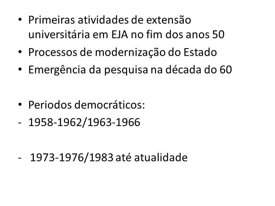 Primeiras atividades de extensão universitária em EJA no fim dos anos 50